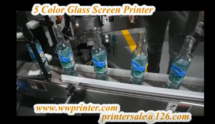 5 color glass beer bottle silk screen printing machine