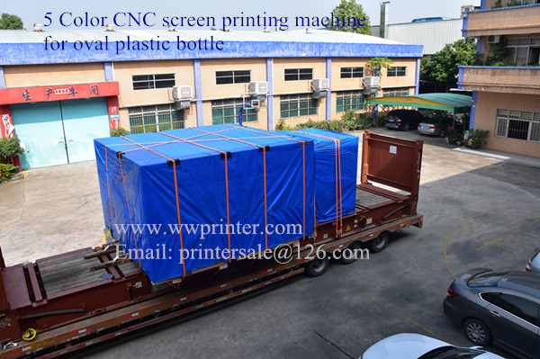 Deliver CNC plastic bottle screen printing machine to Europe customer