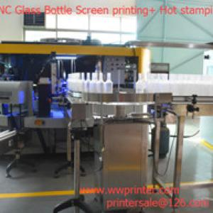 6 Color CNC Glass wine bottle screen printing+Hot stamping machine