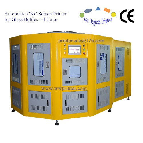 4 Color Automatic CNC Glass Bottle Screen Printer