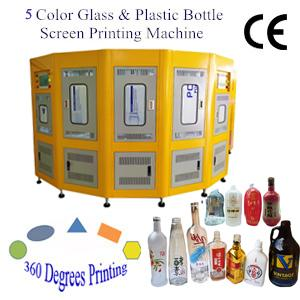 5 Color Automatic UV Bottle Screen Printing Machine